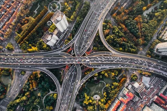 birds-eye view of roads
